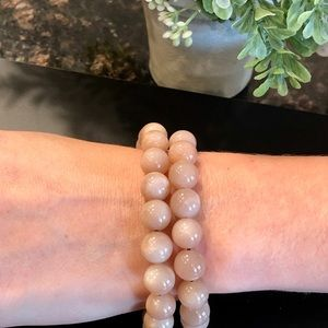 10mm Natural Peach Moonstone Cord Bracelet Crystal